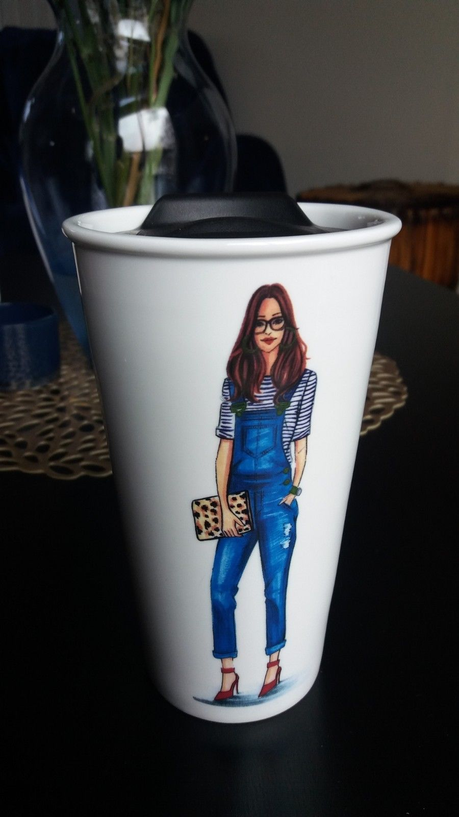 Rongrong Devoe Ceramic Travel Mug Sliding Lid Sip Coffee Cup Overall Girl Heels