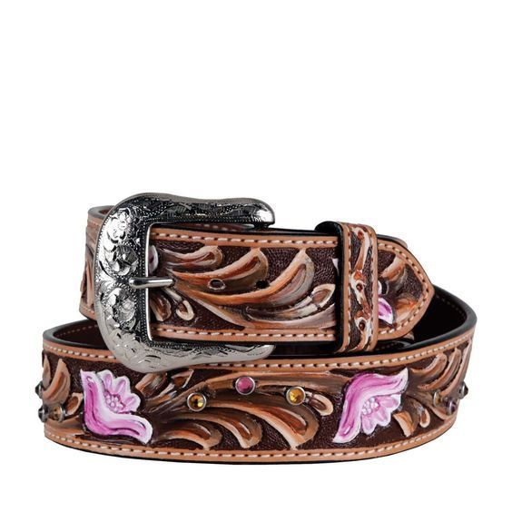 Ariat Womens Country Line Square Dance Pink Rose Floral Hand Tooled Leather Belt