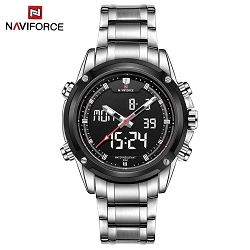 NAVIFORCE Watch Stainless Band w/Japan SEIKO Movement Dual LCD Analog Diver Mens