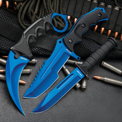 3 Knife LOT Counter Strike CS:GO Huntsman Bowie Karmabit Blade Call of Duty BLUE