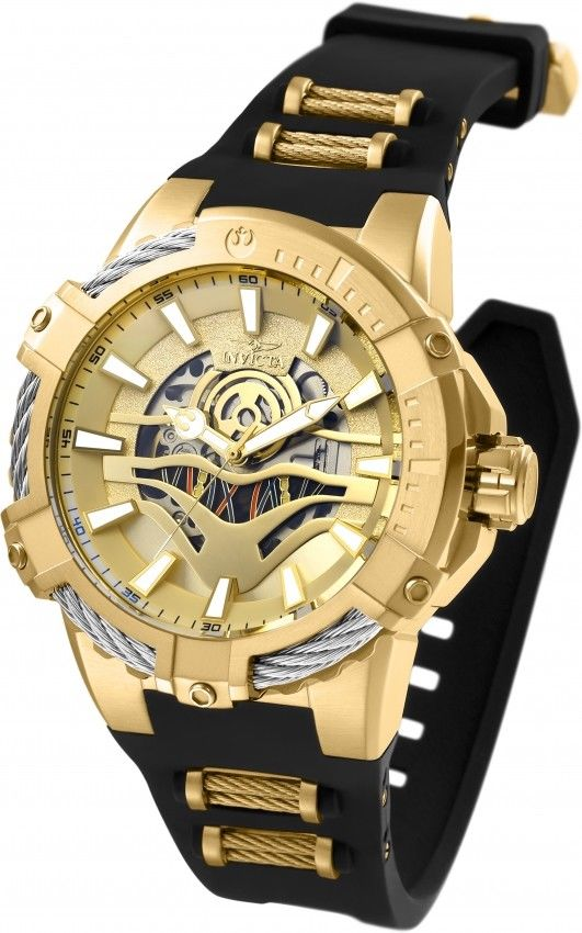Invicta 26224 Star Wars Limited Edition C-3PO Automatic 51mm Gold $1795 Retail