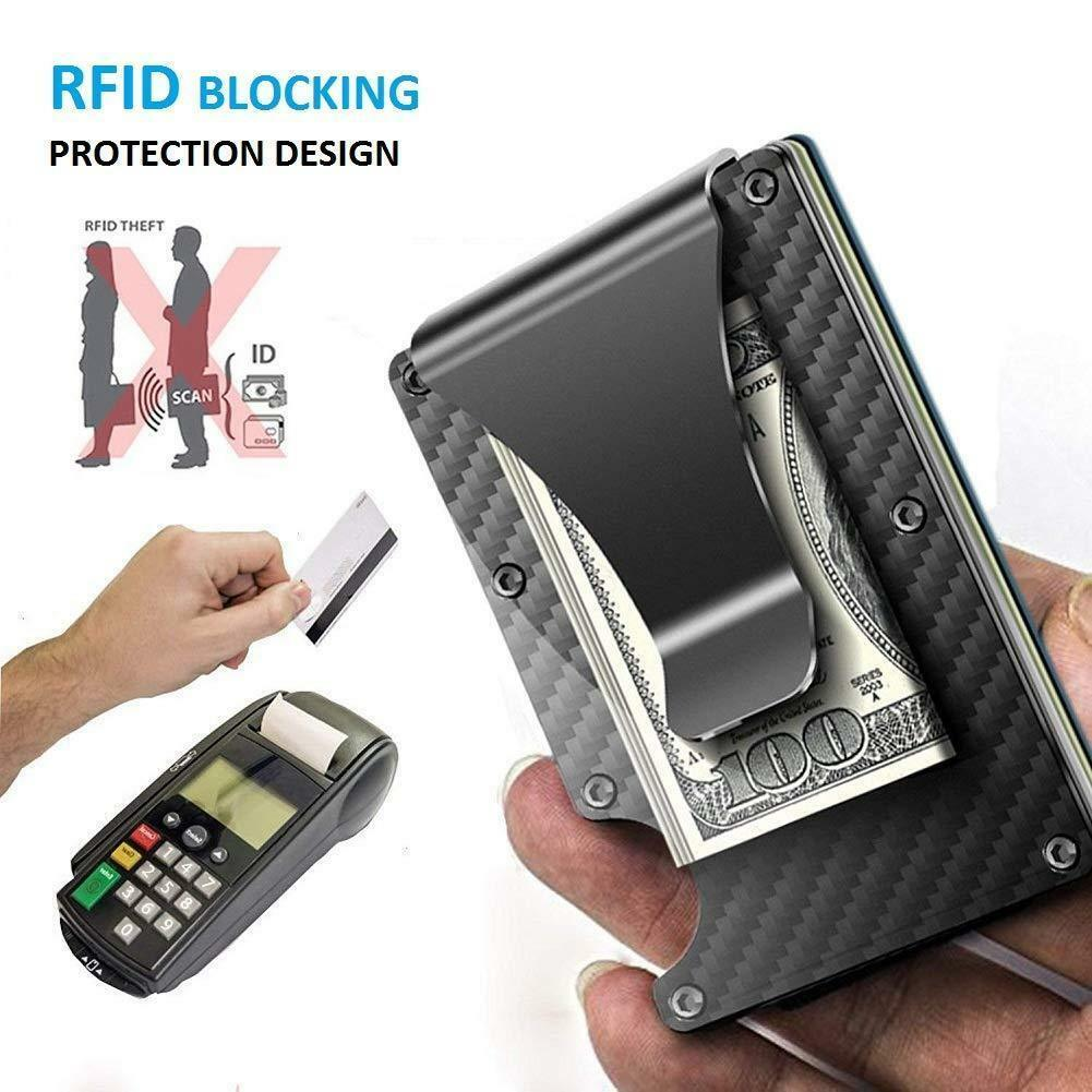 Slim RFID Block Carbon Fiber Wallet Front Pocket Credit Card Holder & Money Clip
