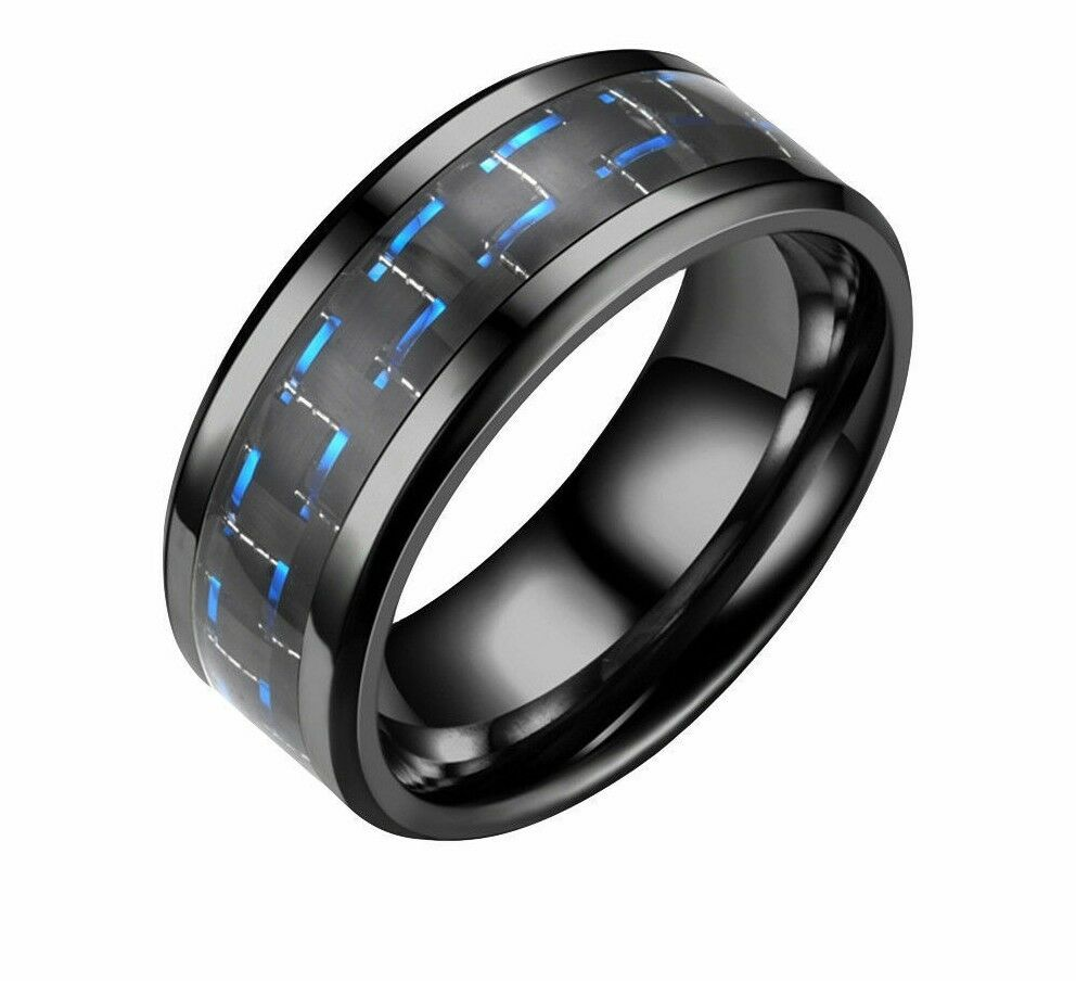 Blue Carbon Fiber Wedding Band Ring Black Men Women 8mm 316L Stainless Steel