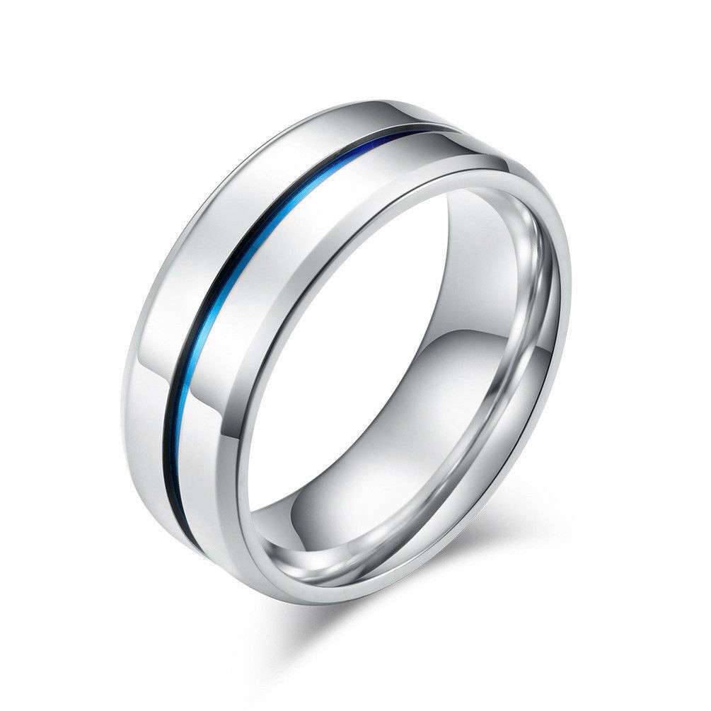 Blue Ti Accent 316L Comfort Fit Stainless Steel Wedding Band Ring Men Women 8mm