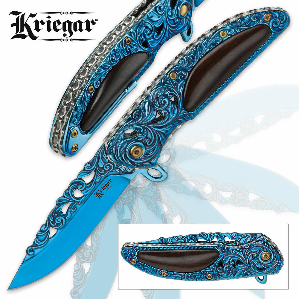 Kriegar Blue Ti Fancy Pocket Knife Wood Handle Scrollwork Assist Open Blade EDC