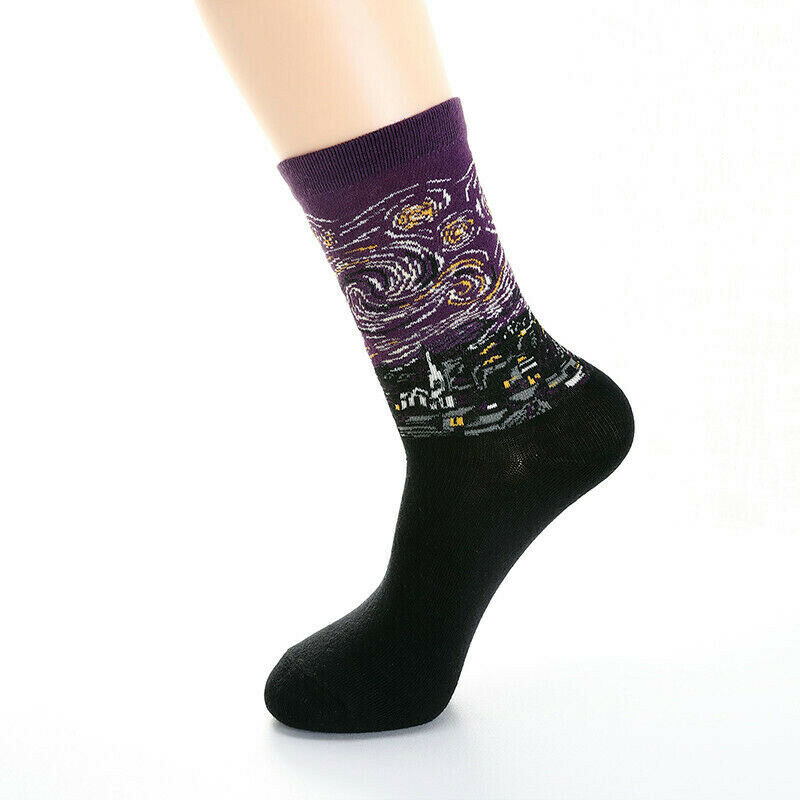Purple Starry Night Painting Sock Art Funny Vincent Van Gogh Men Women Gag Gift Novelty