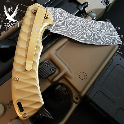 Gold Water Ripple Cleaver Pocket Knife Assisted Faux Damascus Etch Samurai Blade