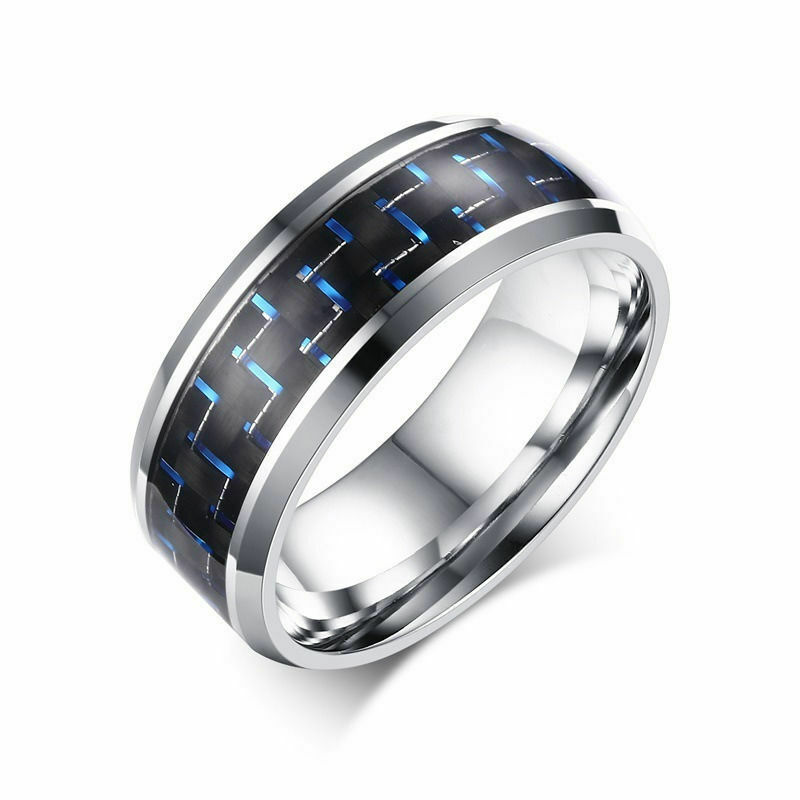 316L Stainless Steel Blue Carbon Fiber  Polished Men Women 8mm Wedding Band Ring