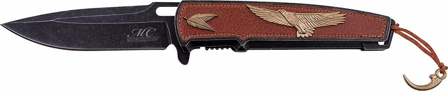 American Eagle Spring Assist Open Leather Handle Flipper Pocket Knife w/Gift Box
