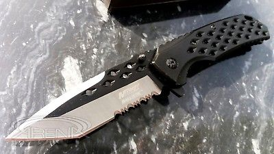 TANTO Ballistic Spring Assist Pocket Knife Black Legal Fast Easy Open Budget EDC