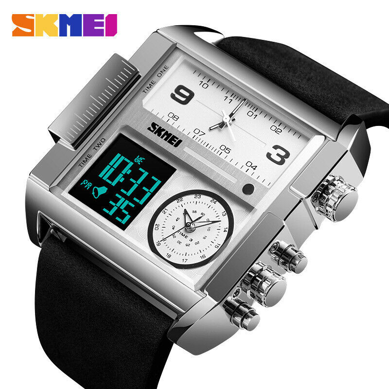 SKMEI Big Face Square Watch Leather Japan Seiko Mvmt Dual LCD Digital 3 Zone Men