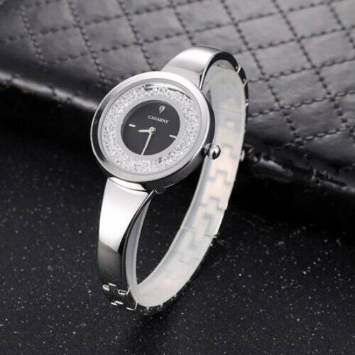 Cagarny Silver Floating Crystal Diamond Face Stainless Quartz Womens Wrist Watch