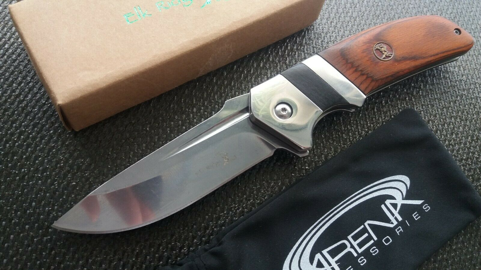 Wood Handle Spring Assist Flipper Hunt Camp Blood Groove Blade EDC Pocket Knife