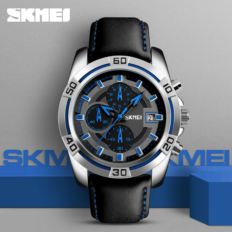 SKMEI 9156 Blue Mens Watch Genuine Japan SEIKO Mvmt Leather Band Working Subdials Date EDC