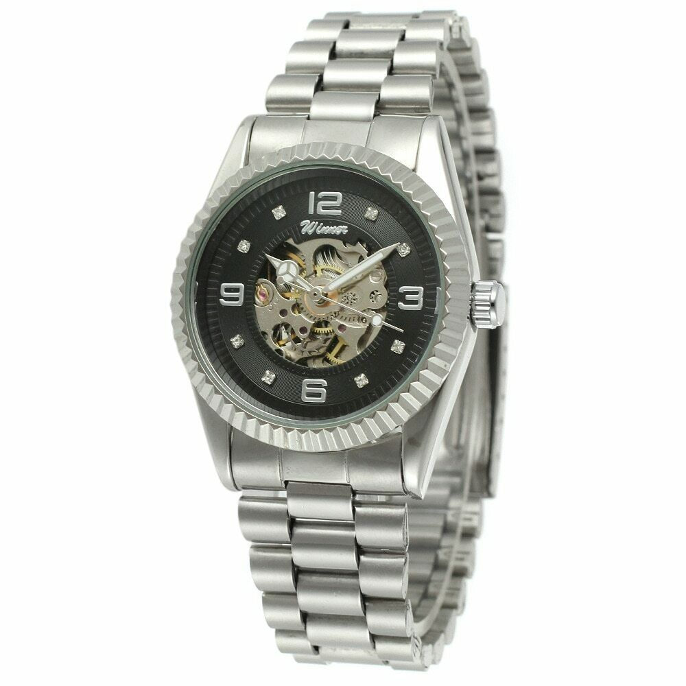 Automatic Mechanical 35mm Face Self or Hand Wind Skeleton Men Women Wrist Watch