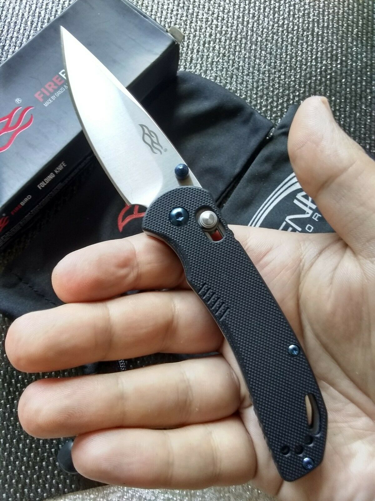 GANZO Firebird F753M1-BK Pocket Knife Black G10 Scale Axis Lock Blue Screws 440C