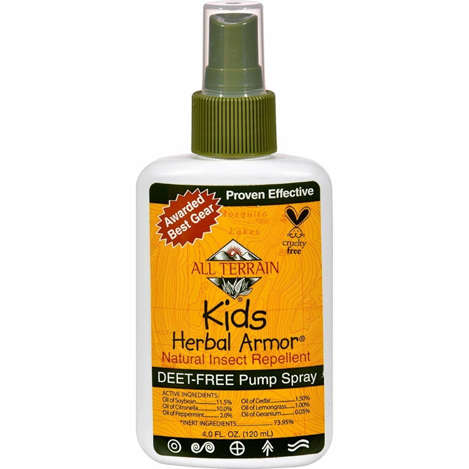 All Terrain Kids Herbal Armor DEET &GMO Free Natural Insect Repellent 4 oz Spray