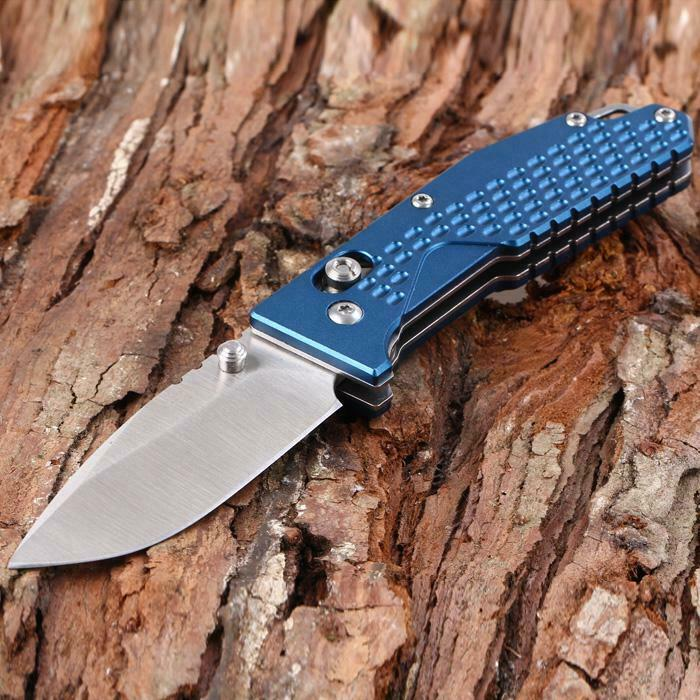 Sanrenmu 7063AUC-LI Blue Pocket Knife Tool Bottle Opener 8Cr14 Blade Axis Lock Small EDC 7063