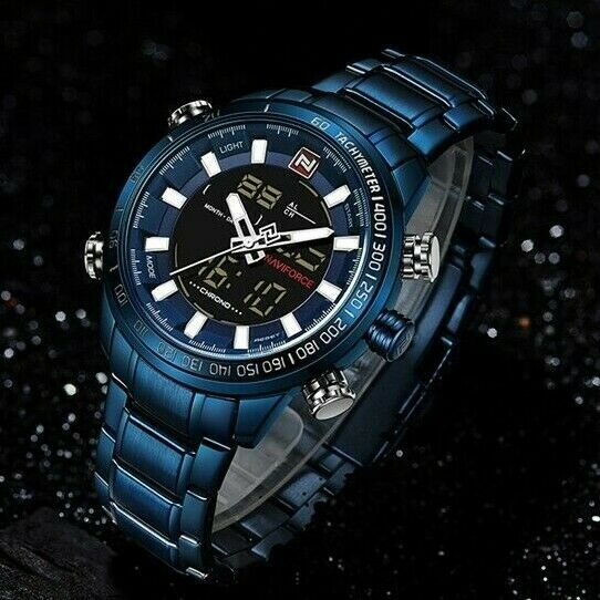 NAVIFORCE Men BIG FACE Watch Diver Size Japan Quartz Seiko Mvmt Dual LCD Digital