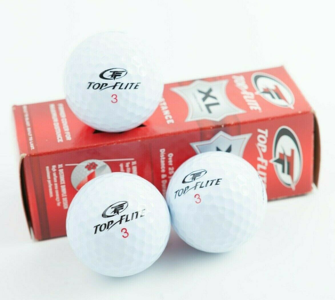 TOP FLITE XL Long Distance Golf Balls Firm Cover Maximum Distance 3 Pk 1 Sleeve