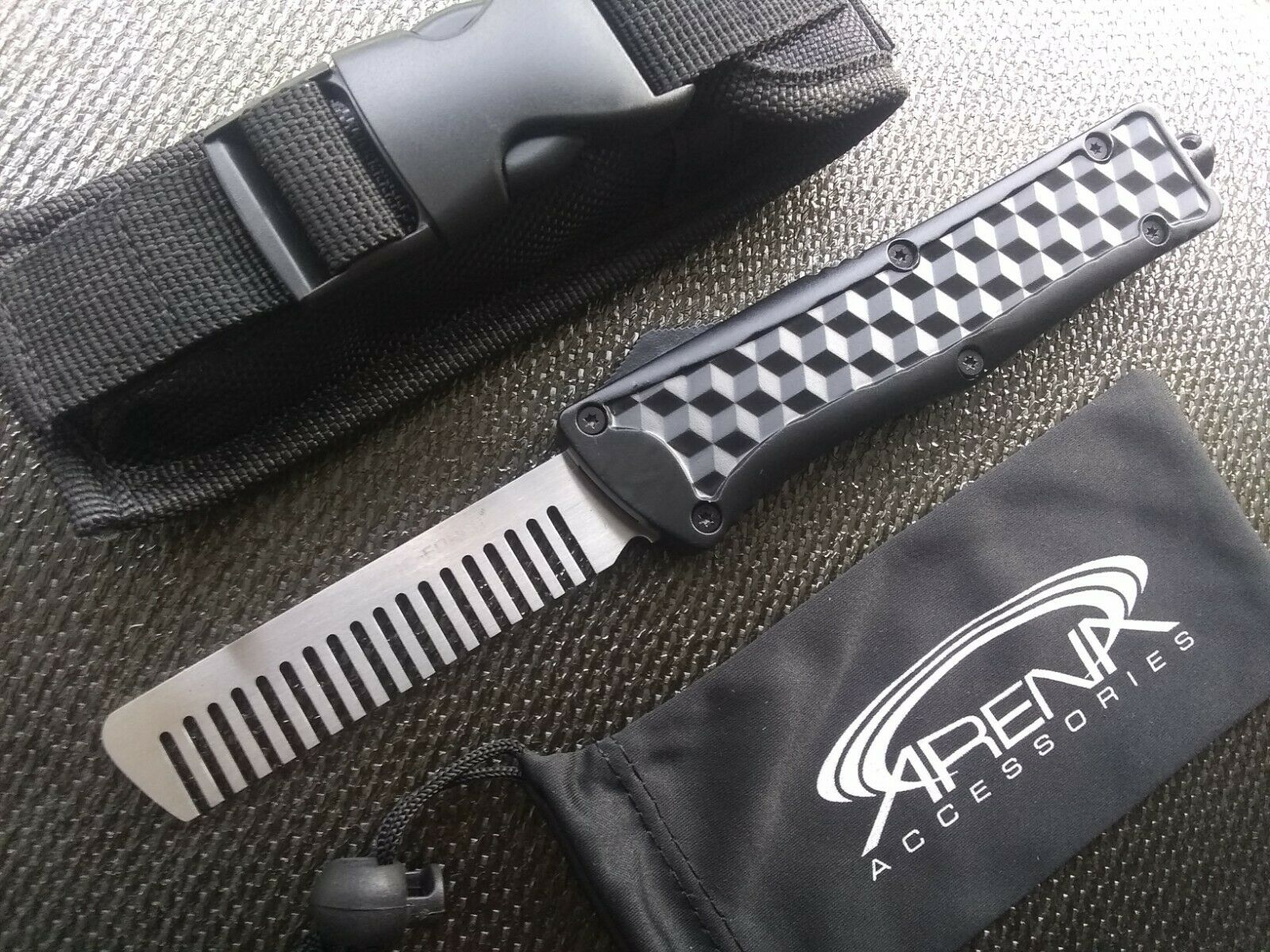 TacForce Tactical OTF Automatic Retractable Switchblade Hair Comb EDC Hairdresser Barber Tool Novelty Item
