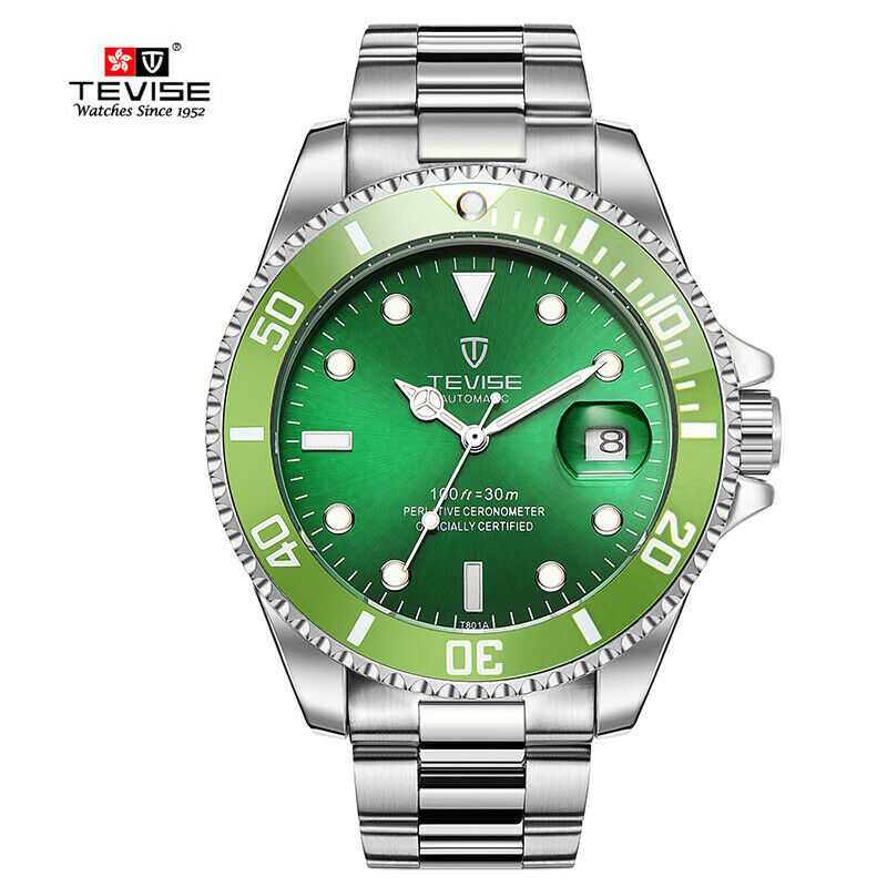 TEVISE Incredible HULK GREEN Face Wrist Watch Mens Luxury Automatic Mechanical Submariner Homage Diver with Date Cyclops