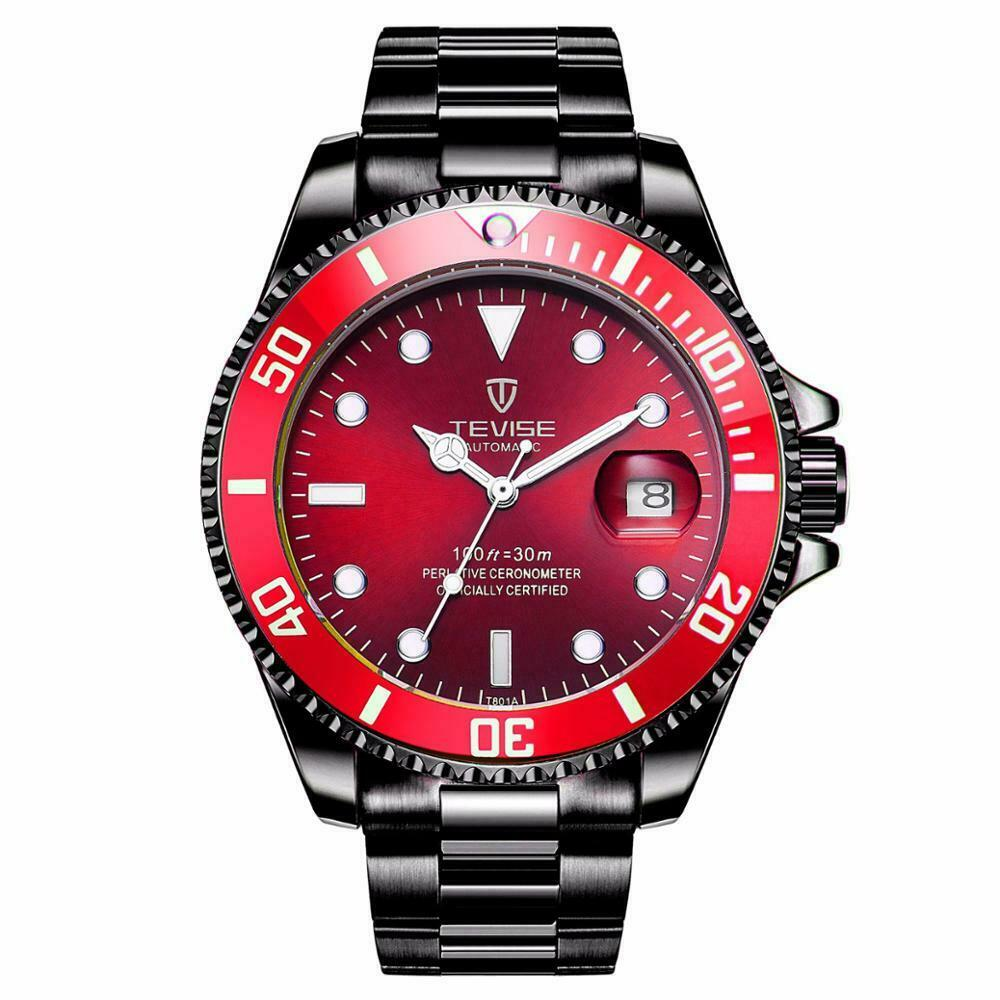 TEVISE Mens Luxury Automatic Mechanical Submariner Diver Wrist Watch with Date BLACK / RED FACE