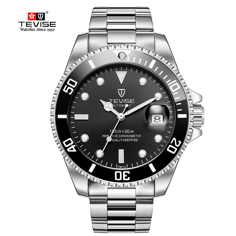 TEVISE Men Luxury Automatic Mechanical Submariner Wrist Watch Diver SILVER BLACK