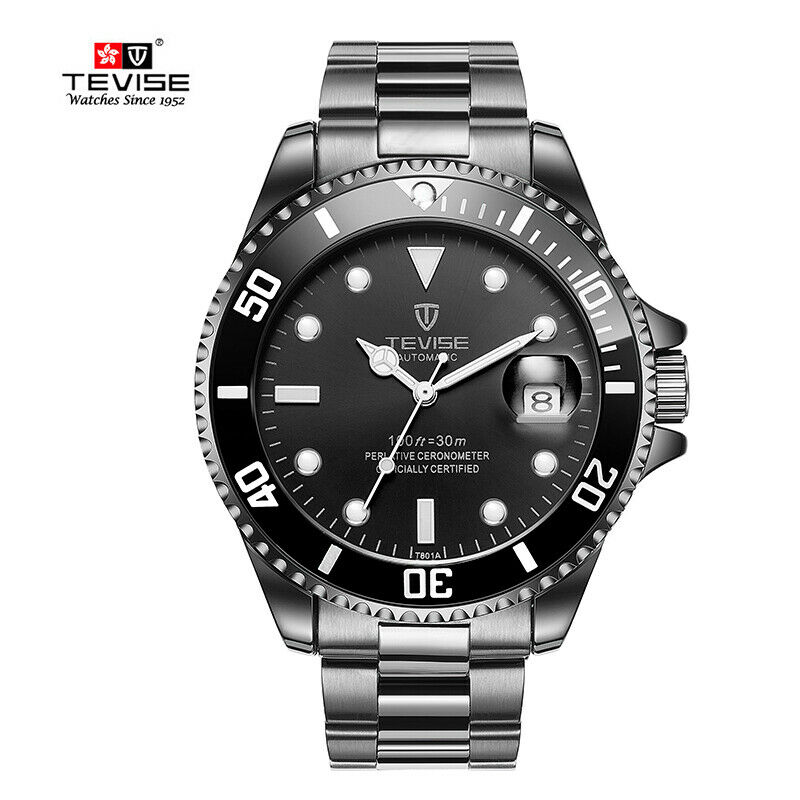 TEVISE Mens Luxury Automatic Mechanical Submariner Wrist Watch Diver BLACK BLACK