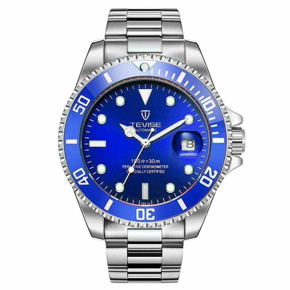 TEVISE Automatic Mechanical Submariner Wrist Watch Mens Luxury Diver SILVER BLUE