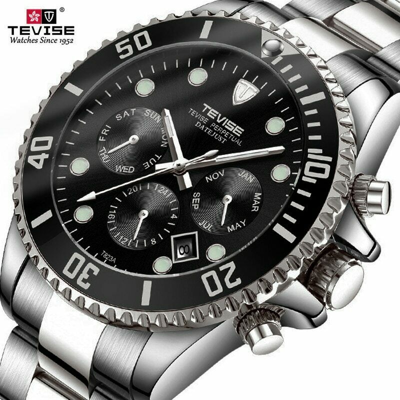 Tevise Business Men Watch Automatic Mechanical Submariner Working Subdials Diver