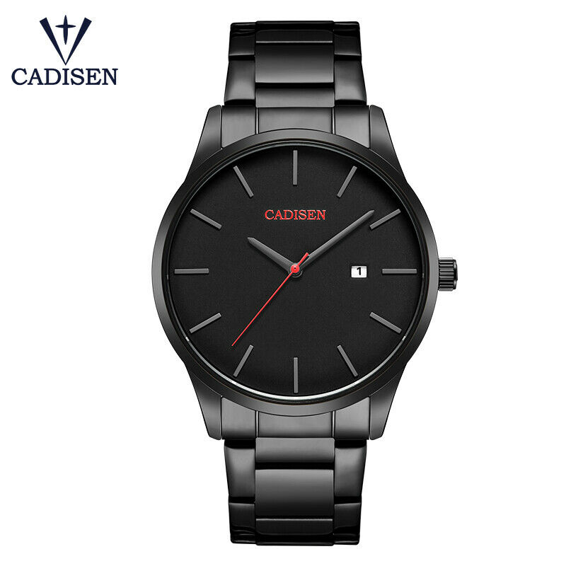 CADISEN All Black Minimalist Men Luxury Wrist Watch Date Japan Quartz Mvmt C2021
