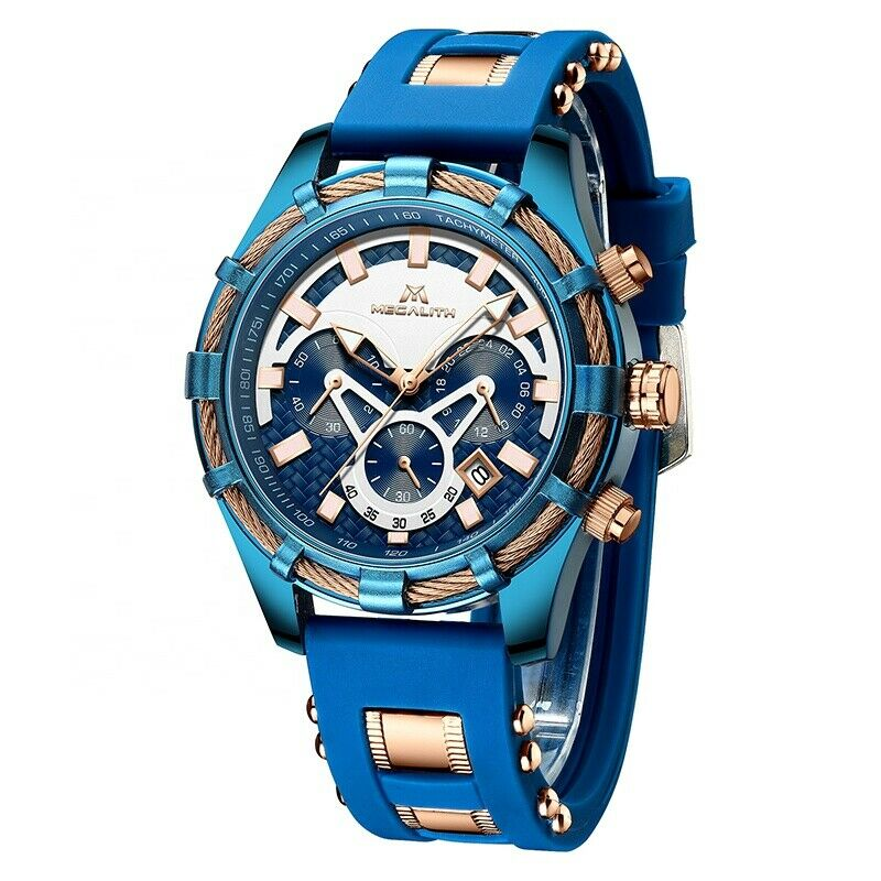MEGALITH Men's Watch Quartz Movement BIG FACE Blue & Rose Gold Rope with Lume & Silicone Band 8042M