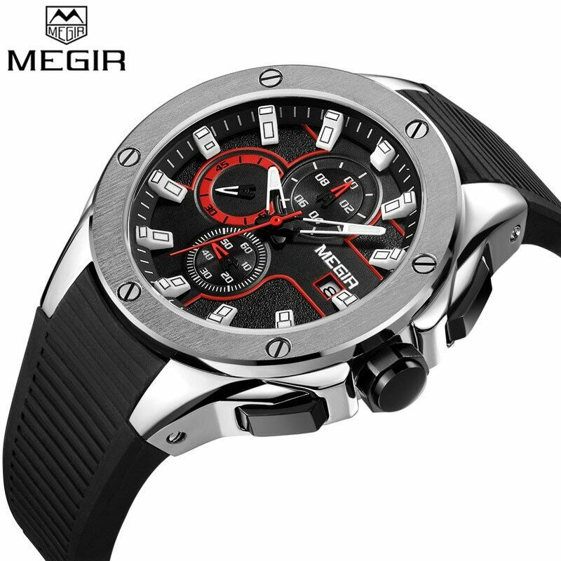 MEGIR Brushed Metal Big Face Wrist Watch Mens Quartz Chronograph Silicone Band