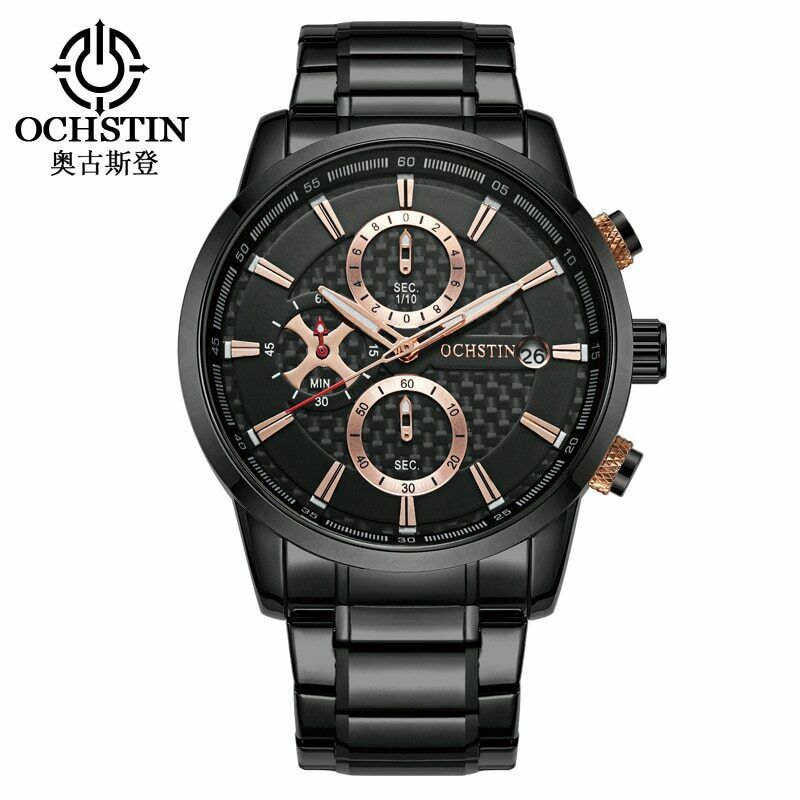 OCHSTIN Genuine Carbon Fiber Face CF Mens Wrist Watch Quartz Mvmt Stainless Band