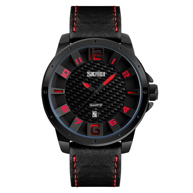 SKMEI Car Guy Wrist Watch Leather Band Japan SEIKO Mvmt Carbon Fiber Pattern RED