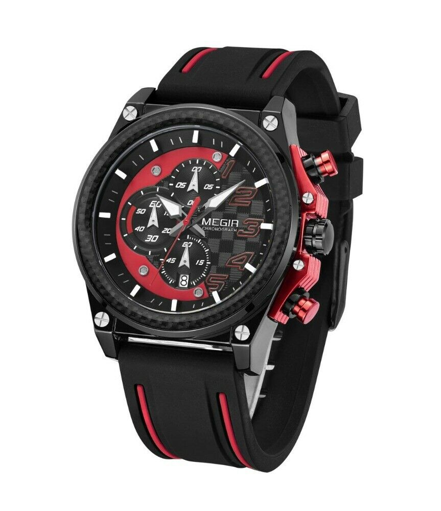 MEGIR Quartz CAR GUY Watch Silicone Band REAL CARBON FIBER Bezel RED BLACK