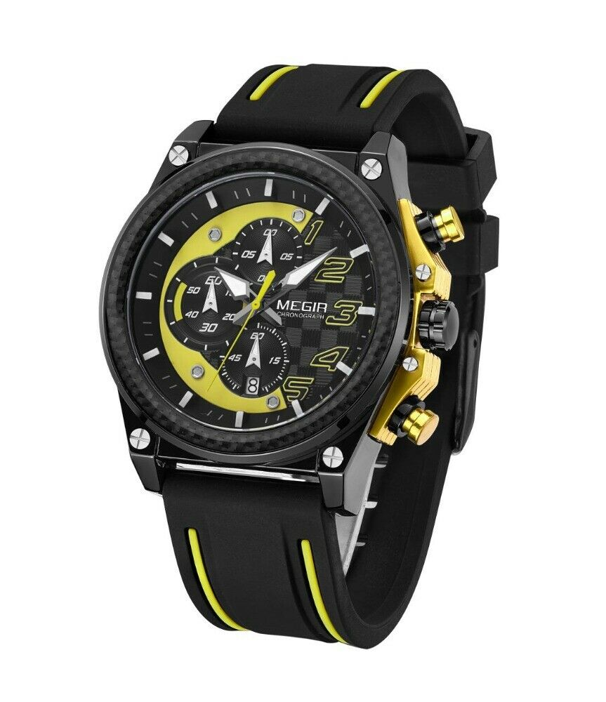 MEGIR Quartz CAR GUY Watch Silicone Band REAL CARBON FIBER Bezel YELLOW BLACK