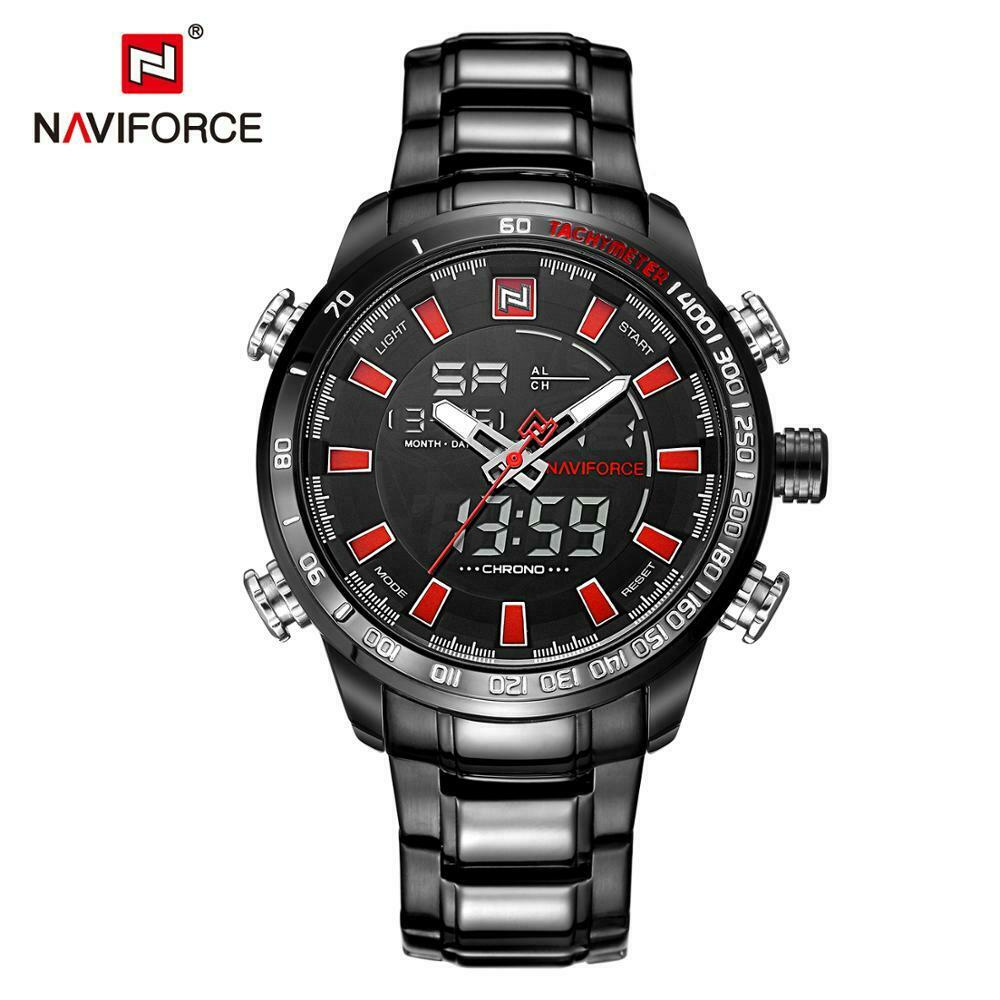 NAVIFORCE Mens Watch BIG FACE Japan Quartz Seiko Mvmt Dual LCD Digital BLACK RED
