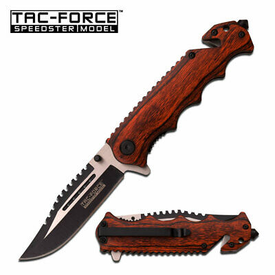 Gentlemans Sawback Wood Handle Pocket Knife w Assist EDC Emergency Glass Breaker