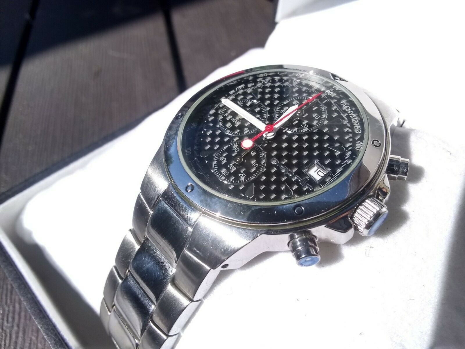 REAL Genuine Carbon Fiber Face Wrist Watch Chronograph with Genuine Japan Miyota (Citizen) Quartz Movement and 38mm Dial