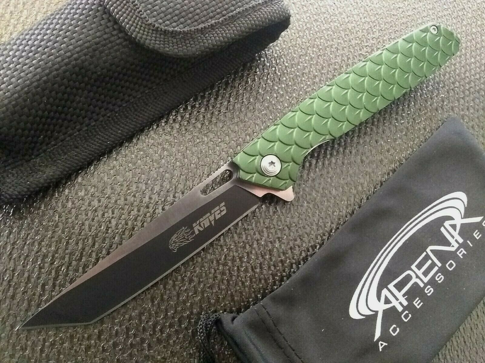 SR Knives 532 Green Dragon Scales Koi Fish Pocket Knife Ball Bearing Pivot Tanto Blade