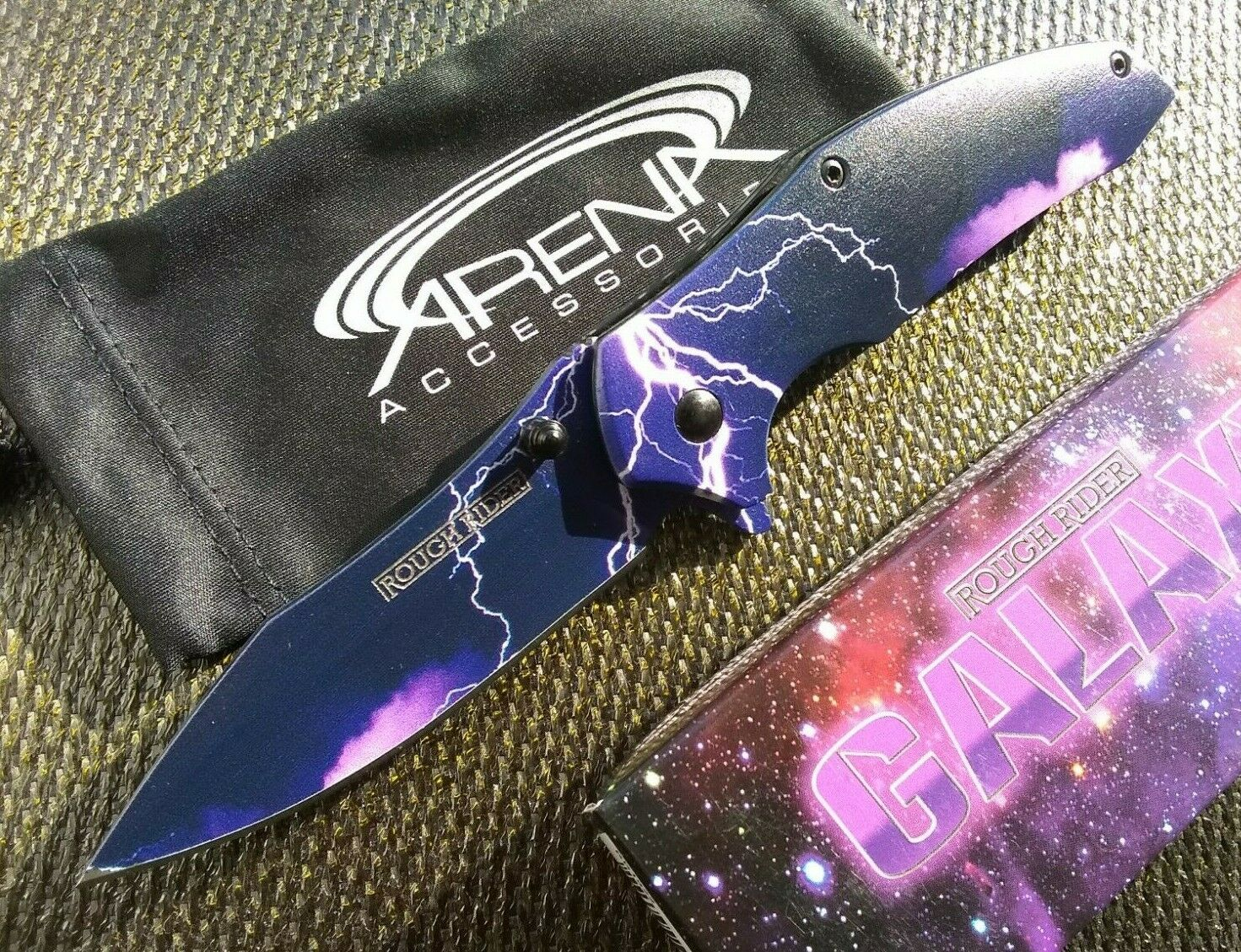 Galaxy Purple Lightning Storm Electrician Pocket Knife Ball Bearing Pivot EDC
