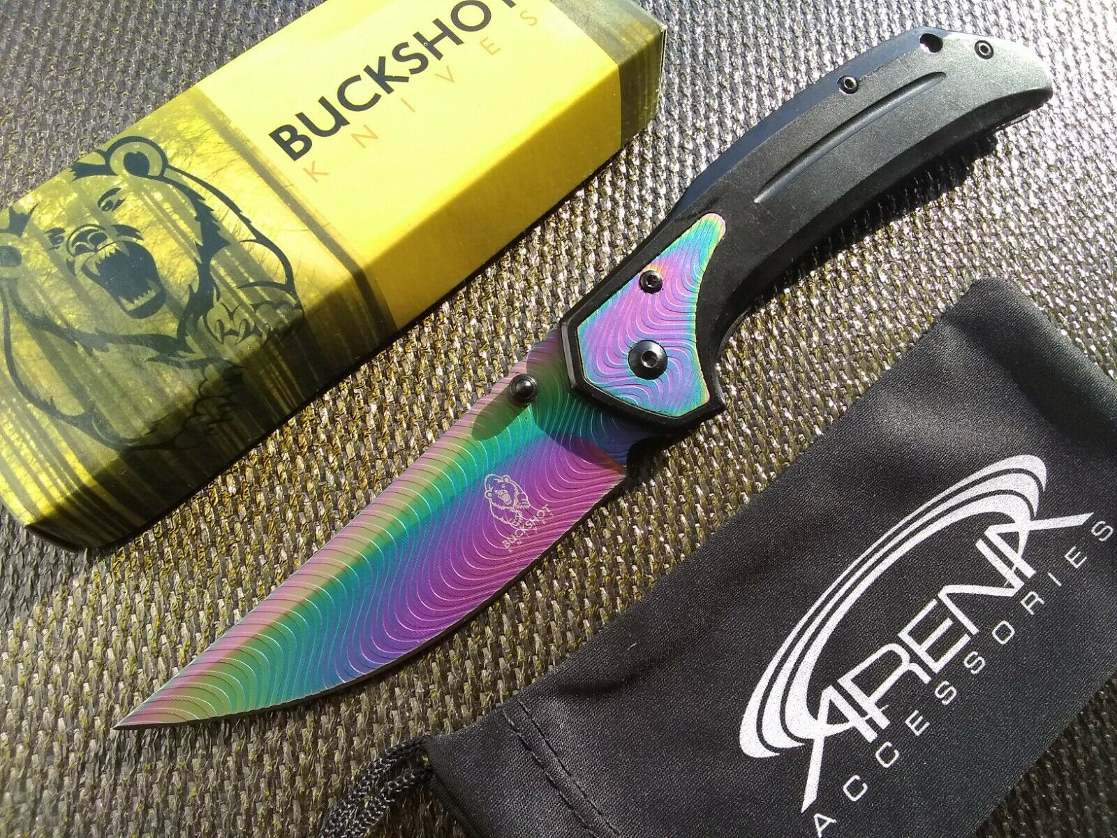 Upswept Curved Blade FrameLock Pocket Knife w/Deep-Carry Clip Rainbow EDC