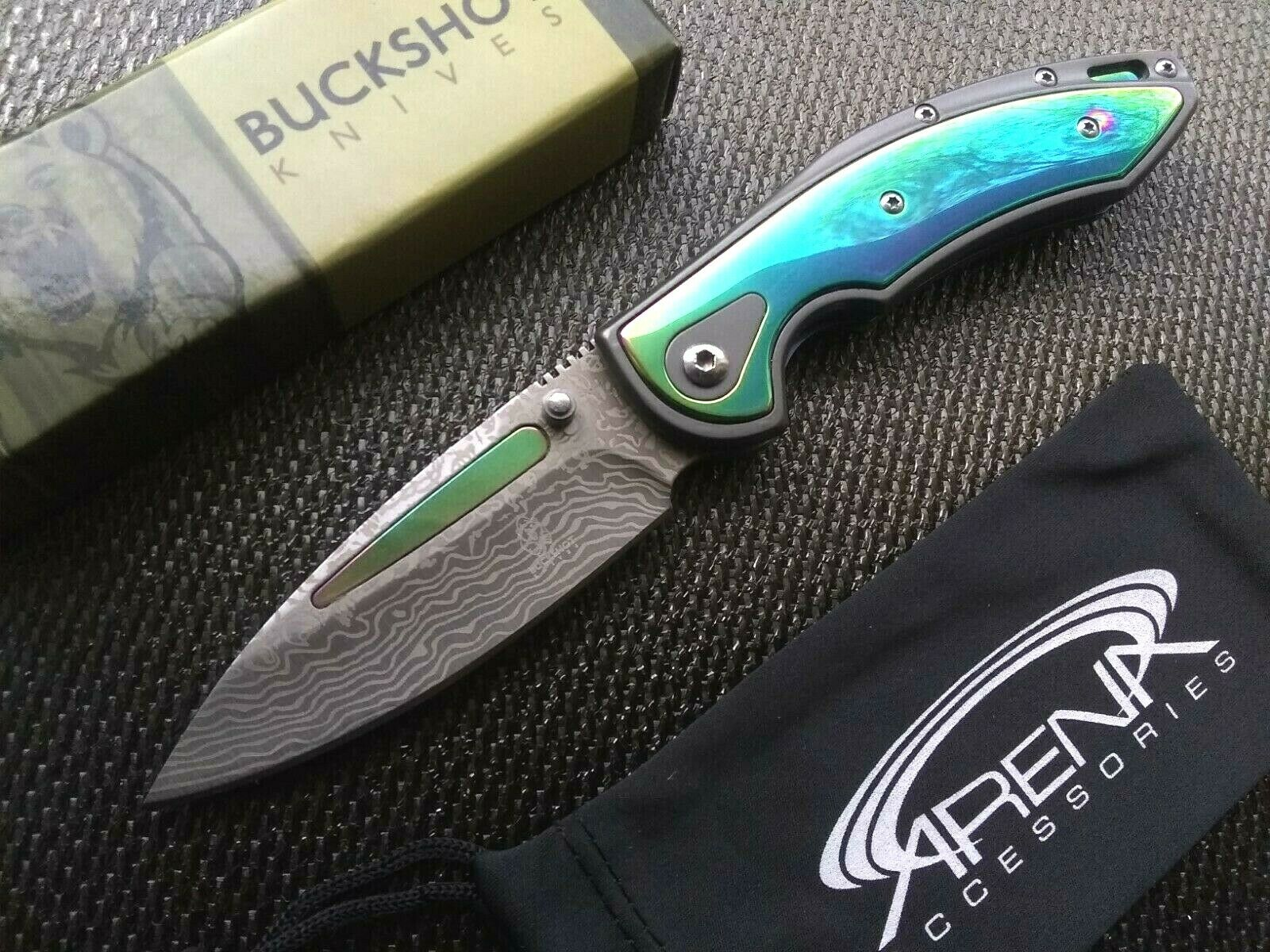 Acid Etch Damascus Blade Pocket Knife Spring Assist Open Blood Groove Rainbow Ti