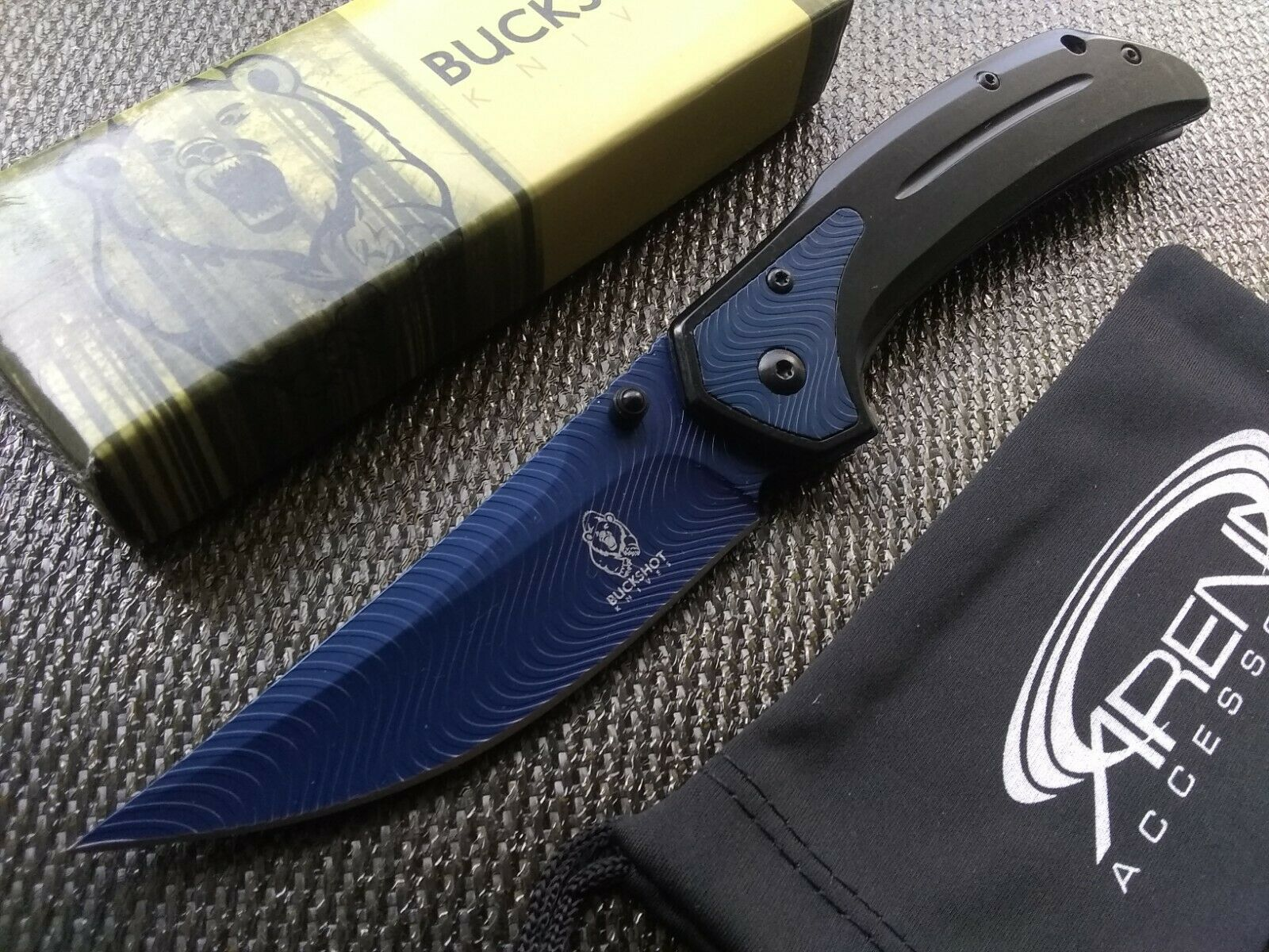 Blue Upswept Curve Blade Frame Lock Pocket Knife w/Deep-Carry Clip EDC Thumbstud