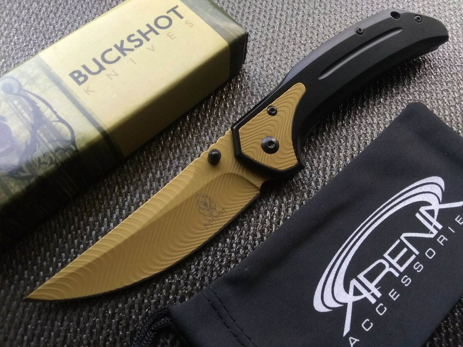 Gold Upswept Curve Blade Frame Lock Pocket Knife w/Deep-Carry Clip EDC Thumbstud