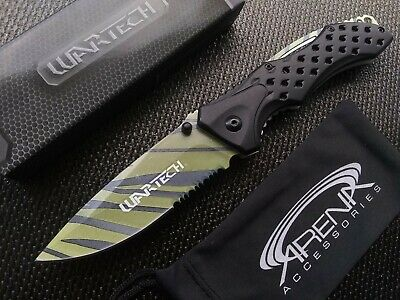 Tiger Stripe EDC Pocket Knife Spring Assisted Aluminum Handle Stainless Blade