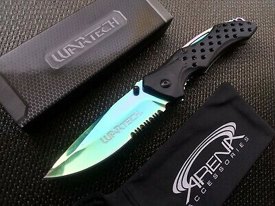 Serrated Pocket Knife Spring Assist Blade Aluminum Handle Stainless Rainbow EDC