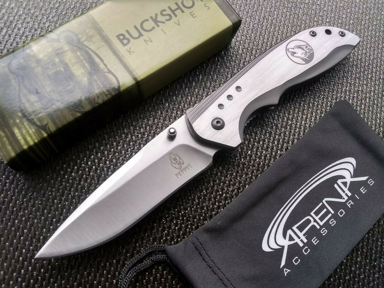 Wolf Howl Pocket Knife FrameLock Dog Blade Spring Assisted Dual Thumb Stud EDC
